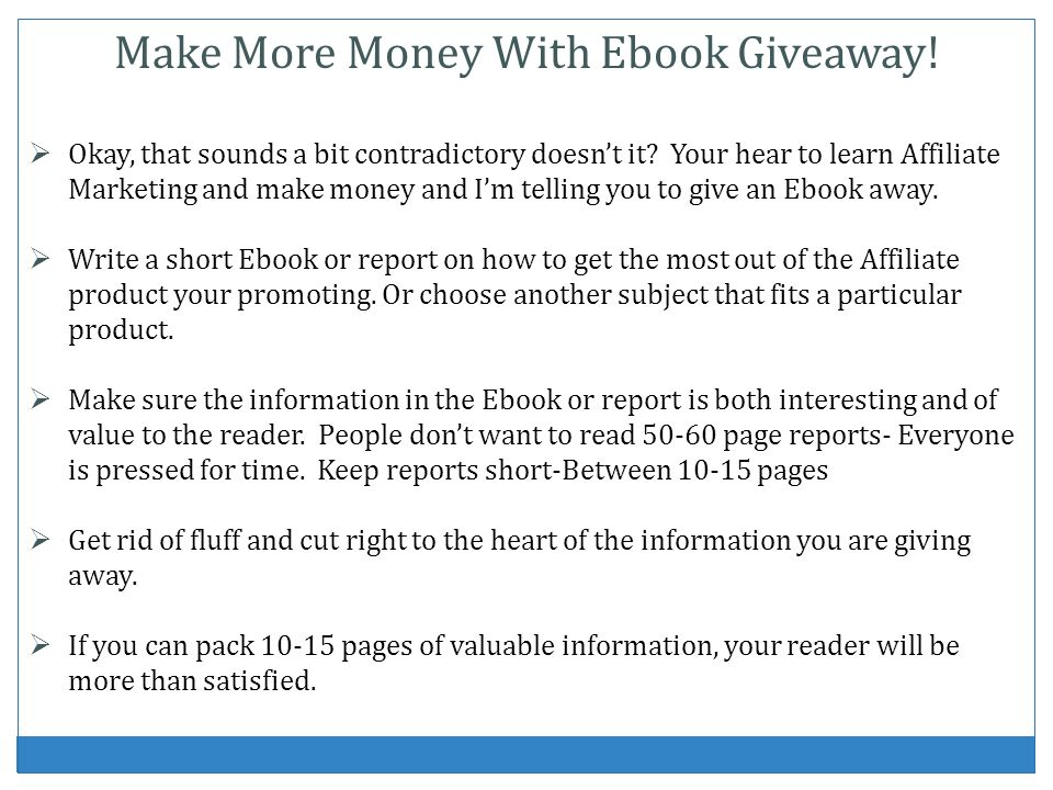 Make More Money With Ebook Giveaway!