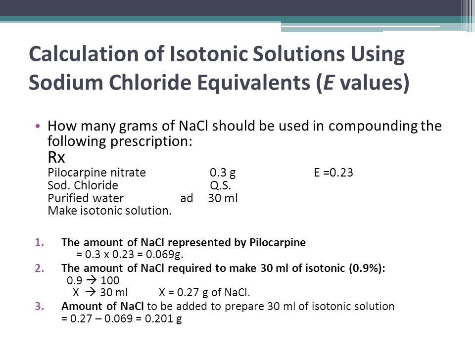 Calculation of Isotonic Solutions Using Sodium Chloride Equivalents (E values)