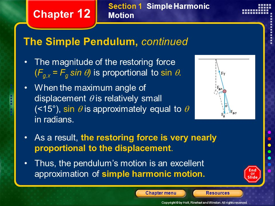 The Simple Pendulum, continued