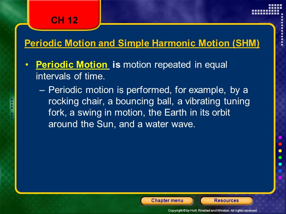 Periodic Motion and Simple Harmonic Motion (SHM)