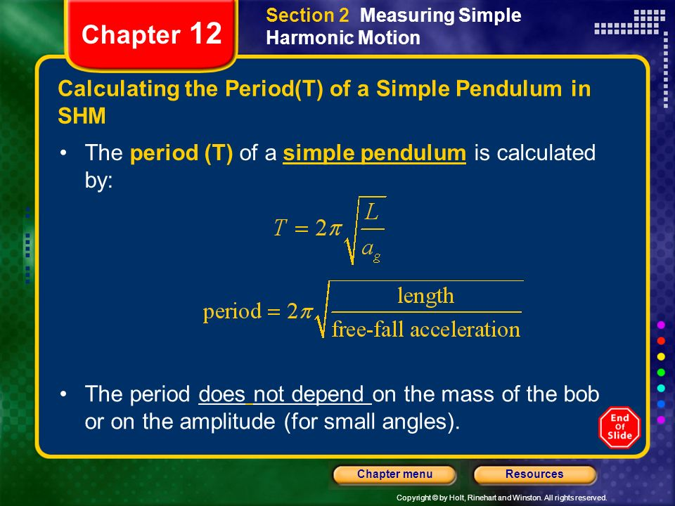 Calculating the Period(T) of a Simple Pendulum in SHM