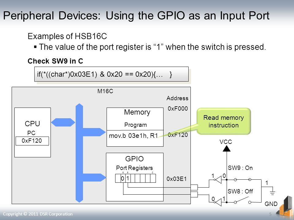 Peripheral Devices: Using the GPIO as an Input Port