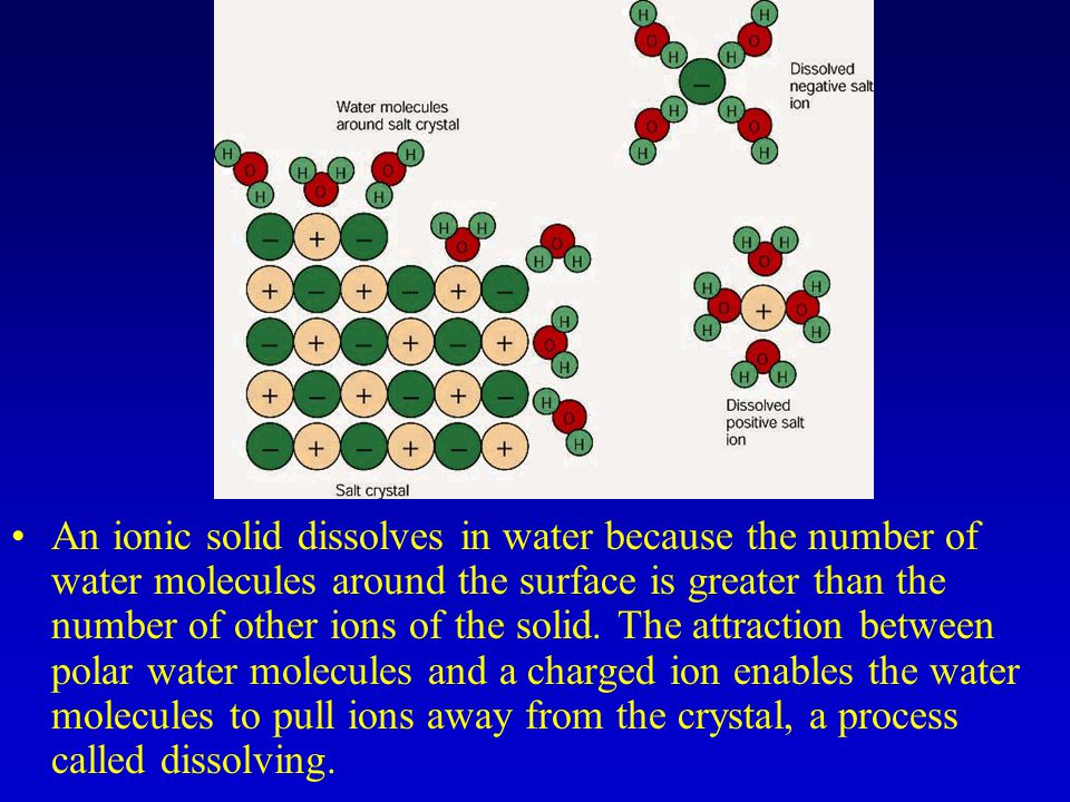 An ionic solid dissolves in water because the number of water molecules around the surface is greater than the number of other ions of the solid.
