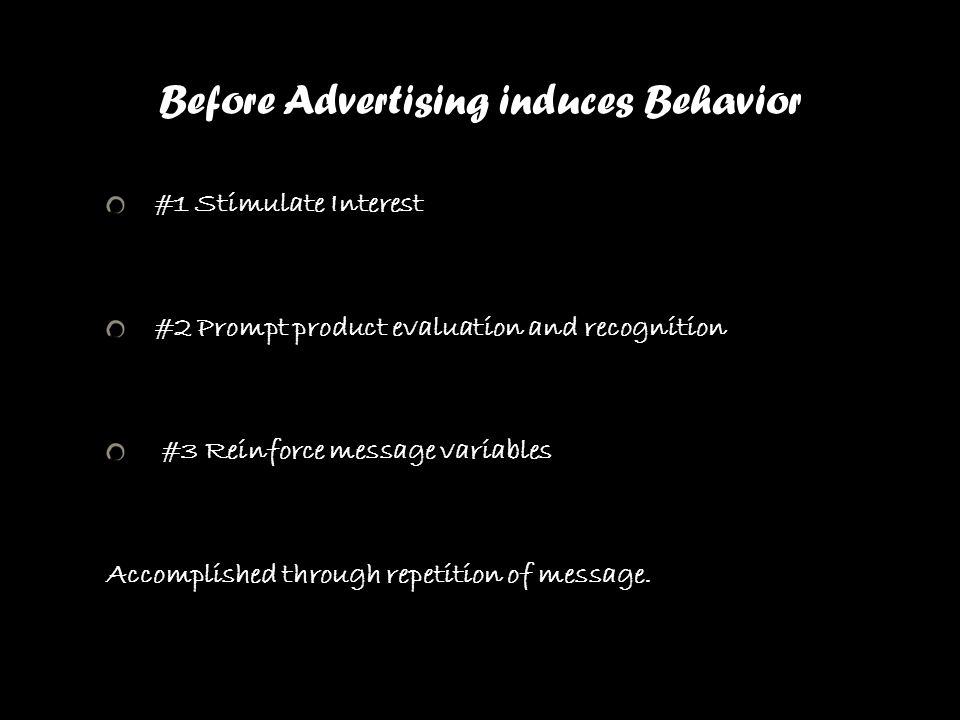 Before Advertising induces Behavior