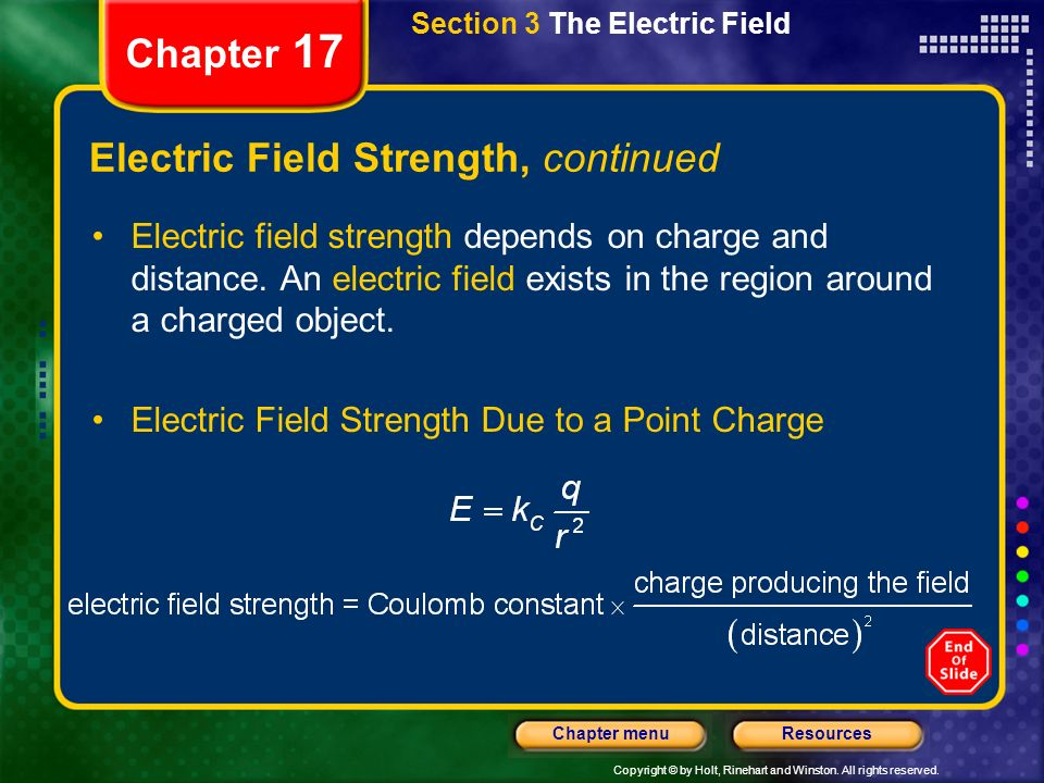 Electric Field Strength, continued