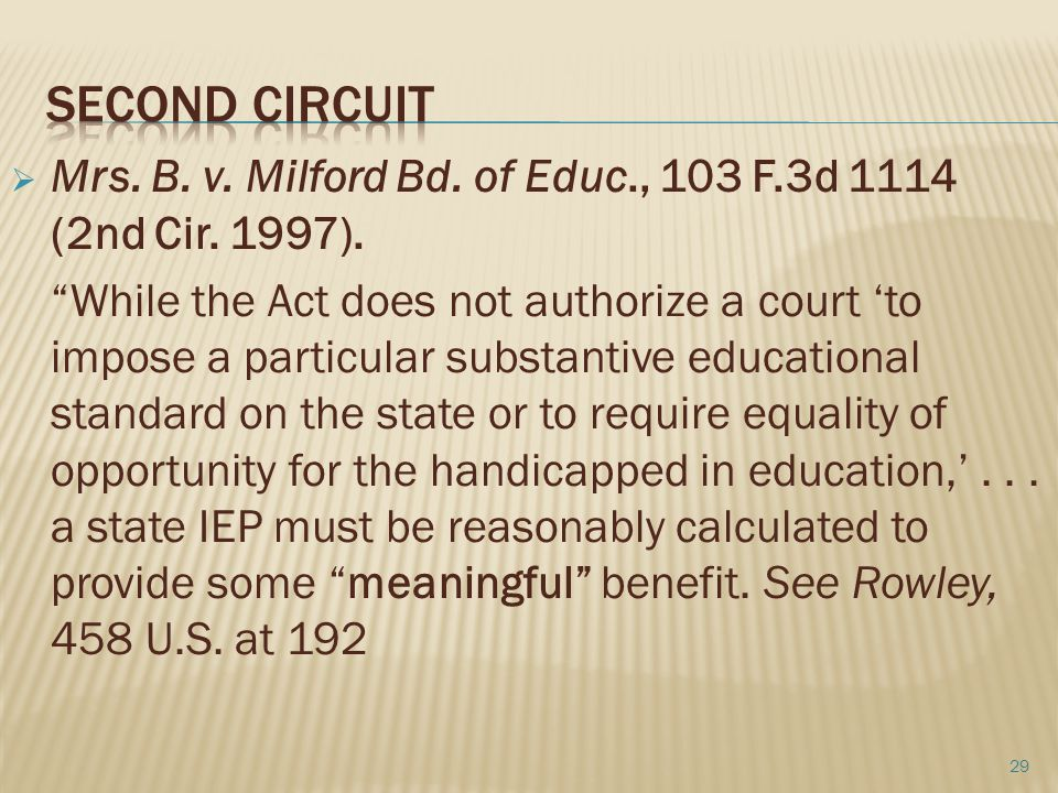 Second Circuit Mrs. B. v. Milford Bd. of Educ., 103 F.3d 1114 (2nd Cir. 1997).