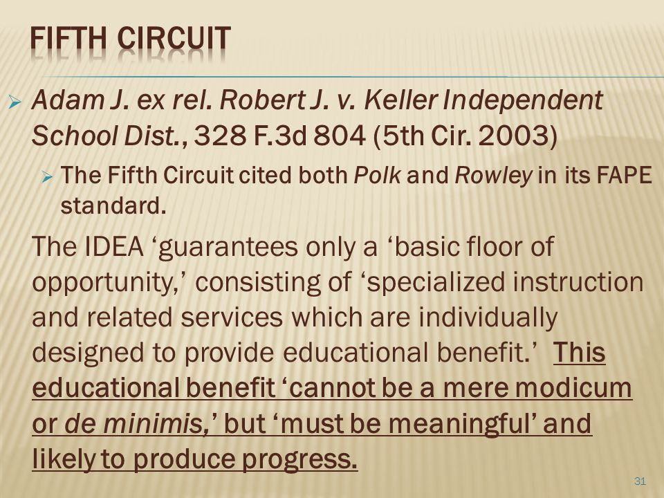 Fifth Circuit Adam J. ex rel. Robert J. v. Keller Independent School Dist., 328 F.3d 804 (5th Cir. 2003)
