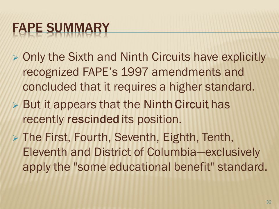 Fape summary Only the Sixth and Ninth Circuits have explicitly recognized FAPE's 1997 amendments and concluded that it requires a higher standard.
