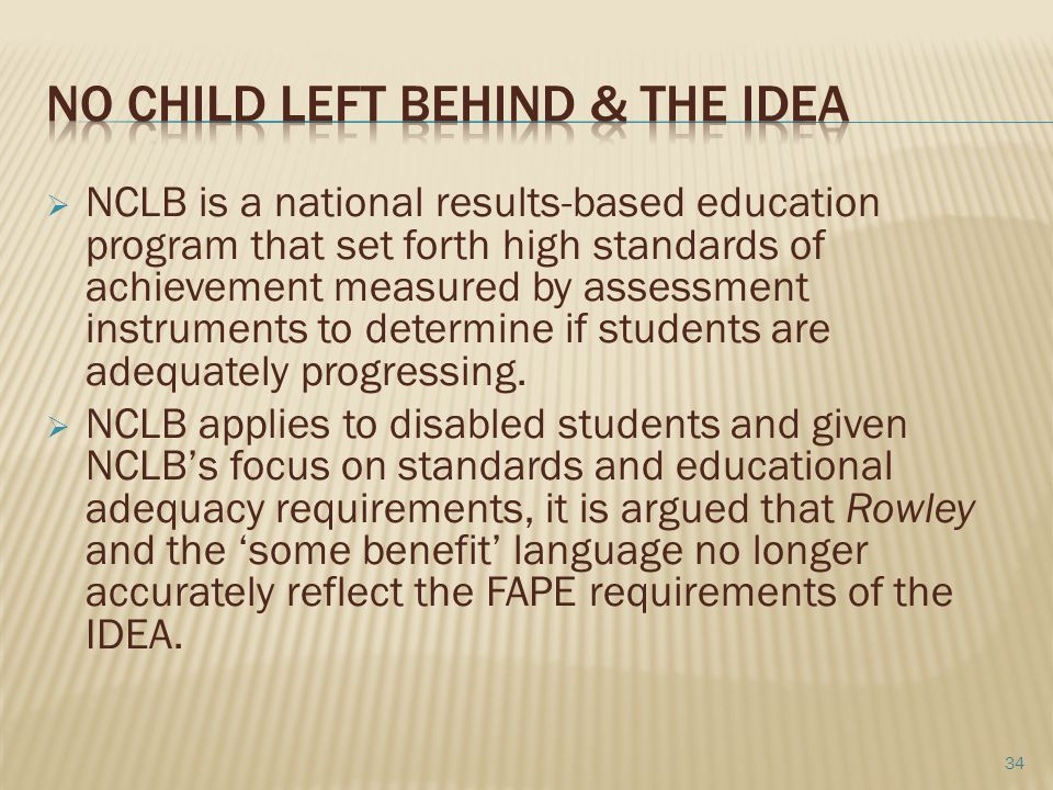 No Child left behind & the IDEA