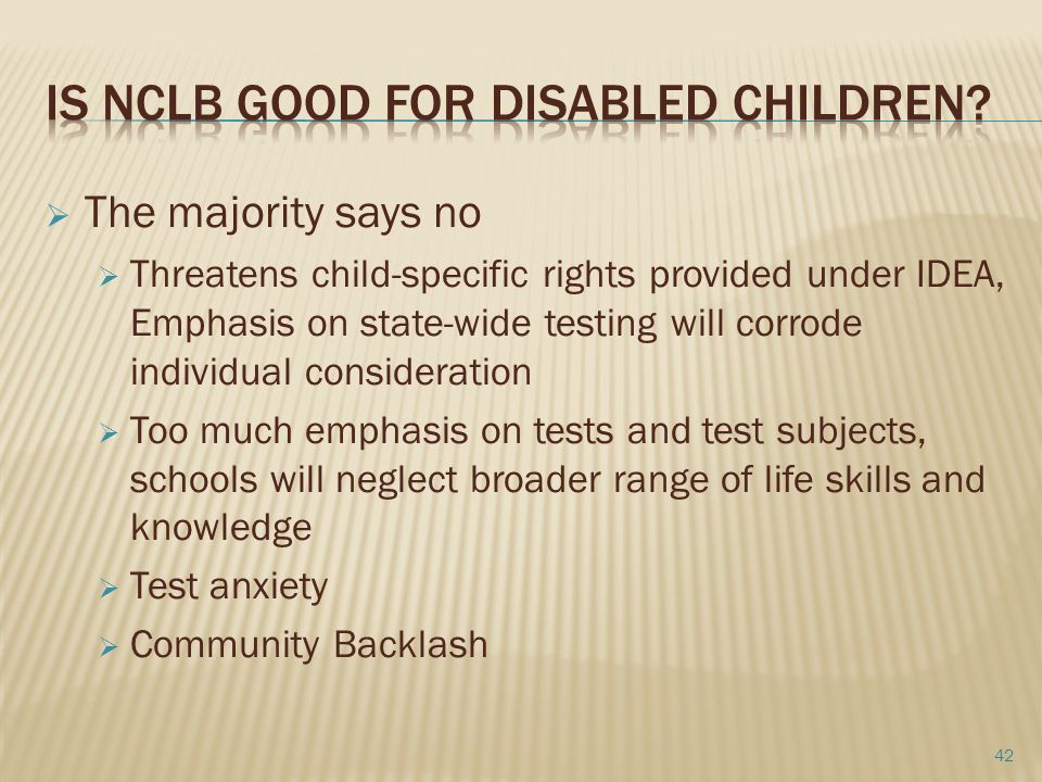 Is NCLB good for Disabled Children