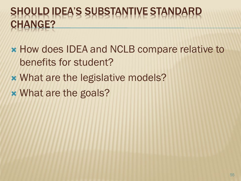 Should idea's substantive standard change