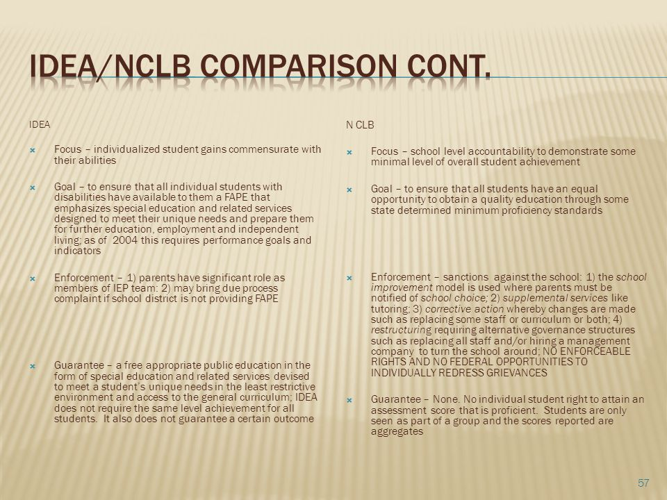 Idea/nclb comparison cont.