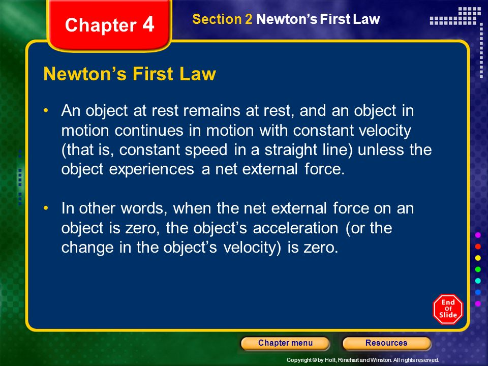 Chapter 4 Newton's First Law