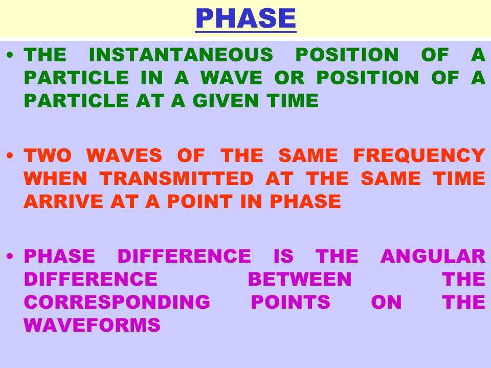 PHASE THE INSTANTANEOUS POSITION OF A PARTICLE IN A WAVE OR POSITION OF A PARTICLE AT A GIVEN TIME.