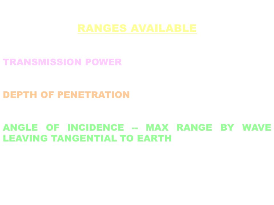 RANGES AVAILABLE TRANSMISSION POWER DEPTH OF PENETRATION