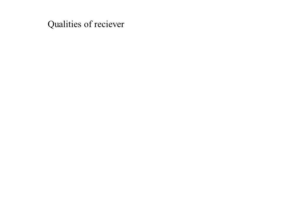 Qualities of reciever