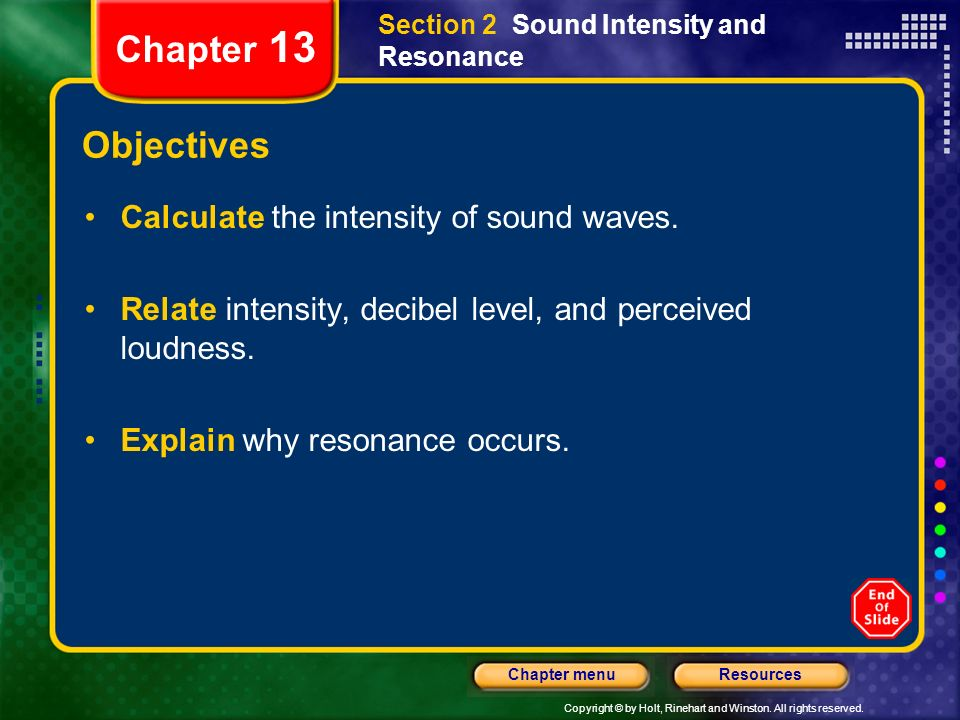 Chapter 13 Objectives Calculate the intensity of sound waves.