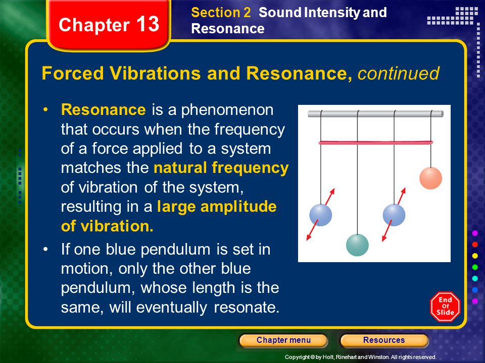 Forced Vibrations and Resonance, continued