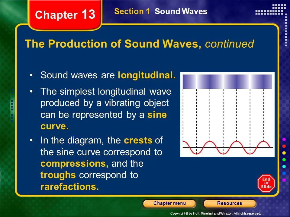 The Production of Sound Waves, continued