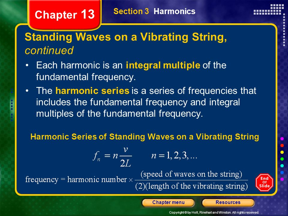 Standing Waves on a Vibrating String, continued