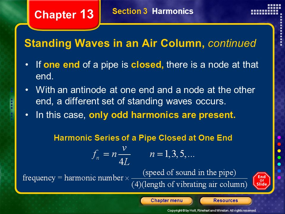 Standing Waves in an Air Column, continued