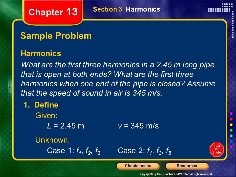 Chapter 13 Sample Problem Harmonics