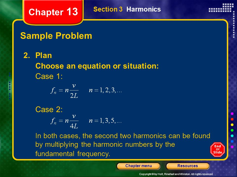 Chapter 13 Sample Problem Plan Choose an equation or situation: