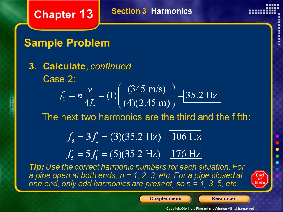 Chapter 13 Sample Problem Calculate, continued Case 2: