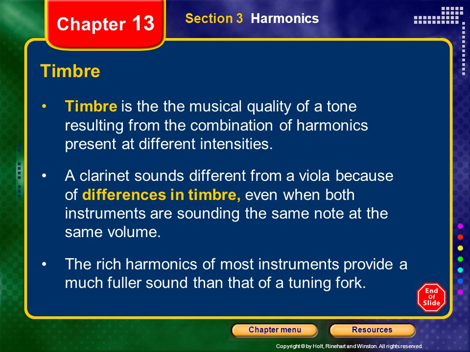 Chapter 13 Section 3 Harmonics. Timbre.