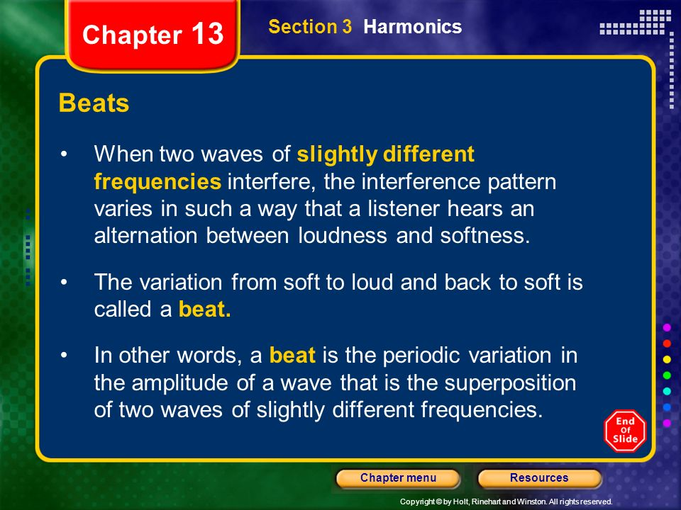 Chapter 13Section 3 Harmonics. Beats.