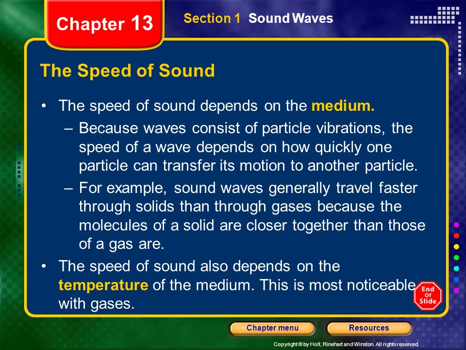 Chapter 13 The Speed of Sound