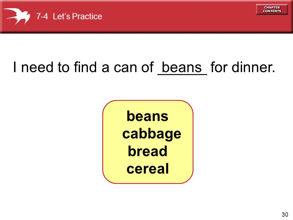beans cabbage bread cereal