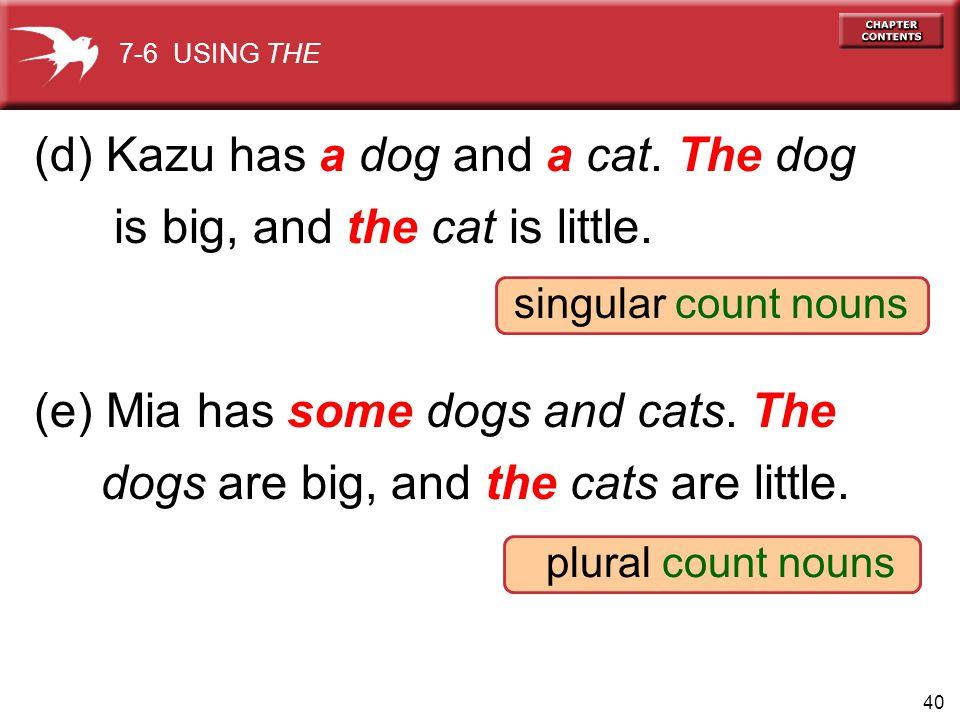 (d) Kazu has a dog and a cat. The dog is big, and the cat is little.