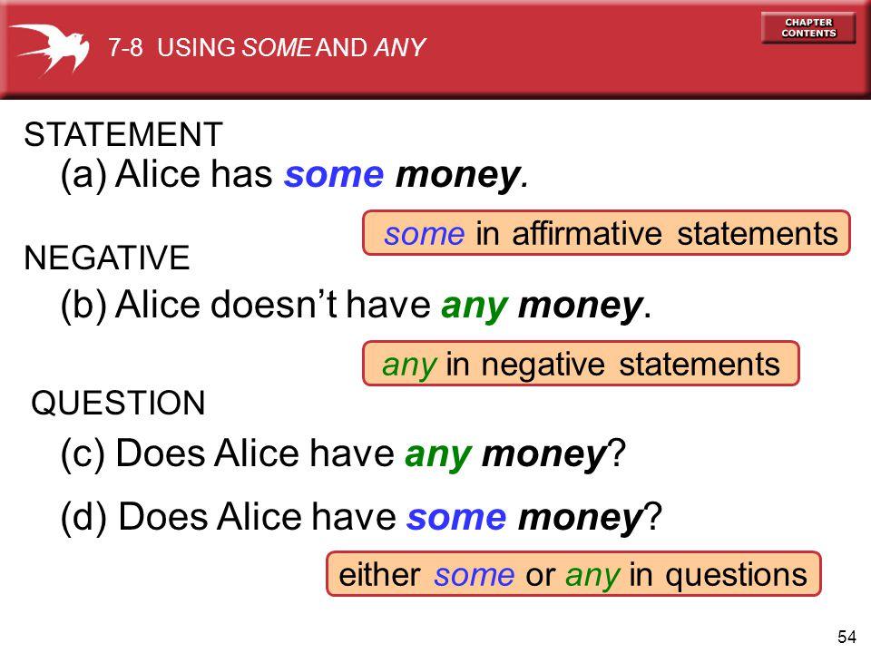 (a) Alice has some money.