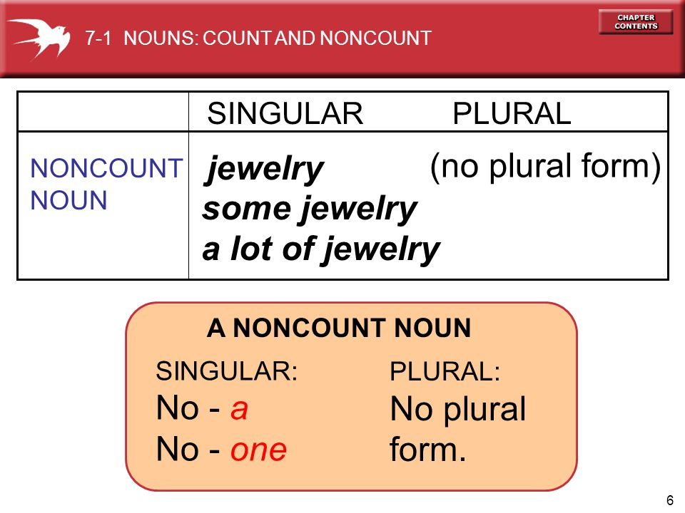 (no plural form) jewelry some jewelry a lot of jewelry No - a