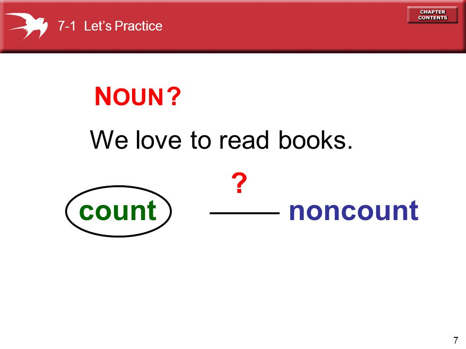 7-1 Let's Practice NOUN We love to read books. count noncount