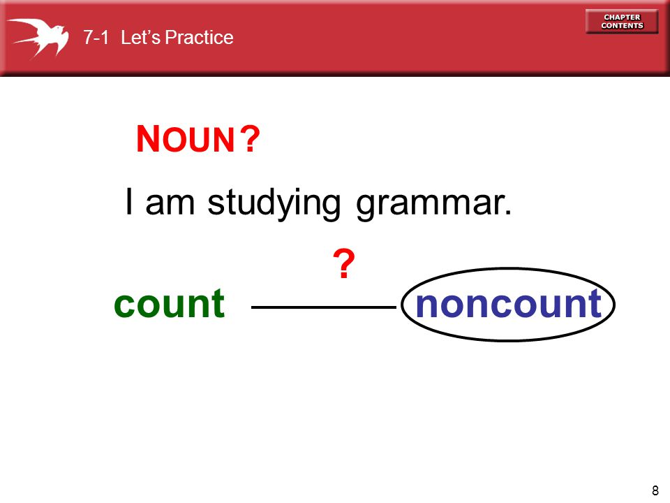 7-1 Let's Practice NOUN I am studying grammar. count noncount