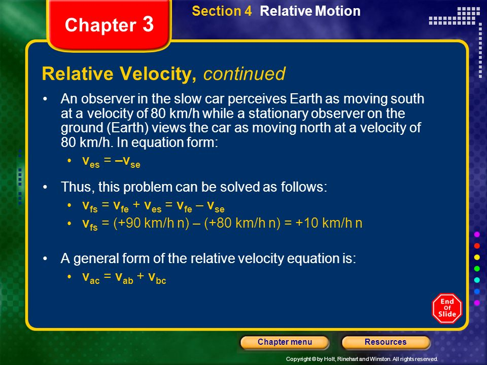 Relative Velocity, continued