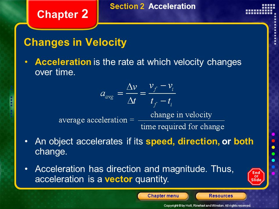 Chapter 2 Changes in Velocity