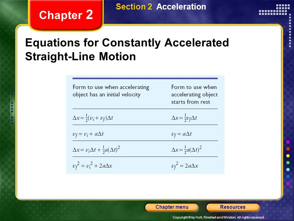 Equations for Constantly Accelerated Straight-Line Motion