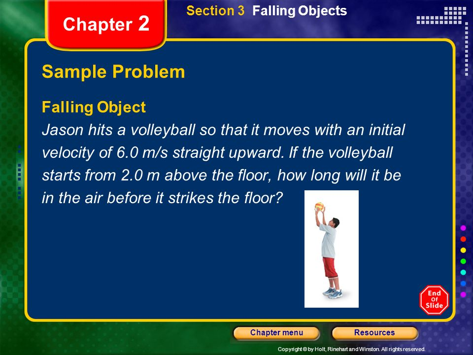 Chapter 2 Sample Problem Falling Object