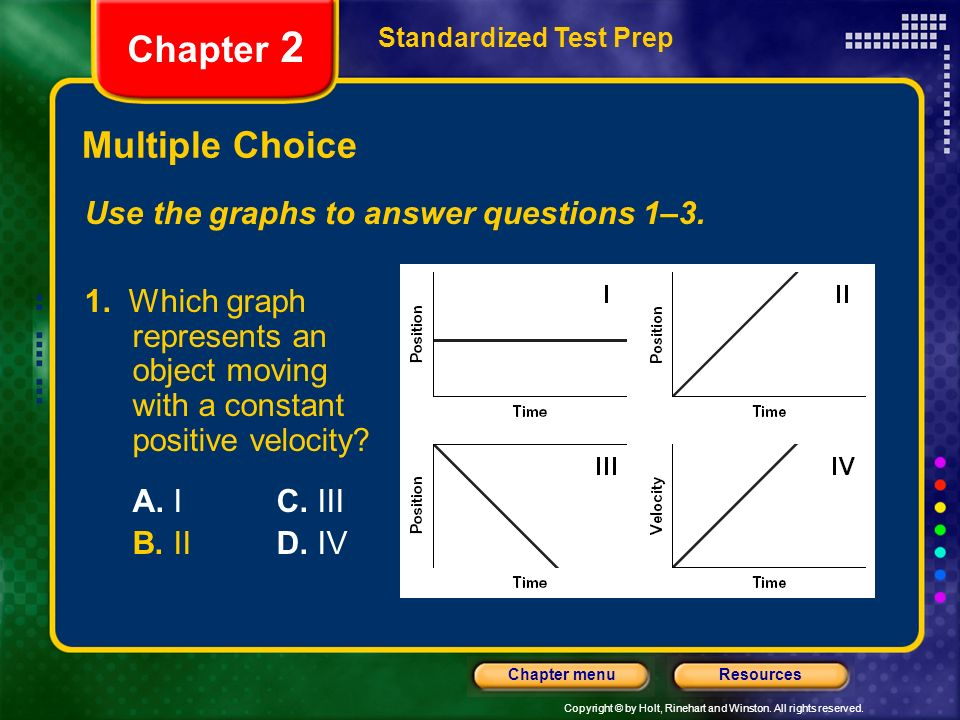 Chapter 2 Multiple Choice Use the graphs to answer questions 1–3.