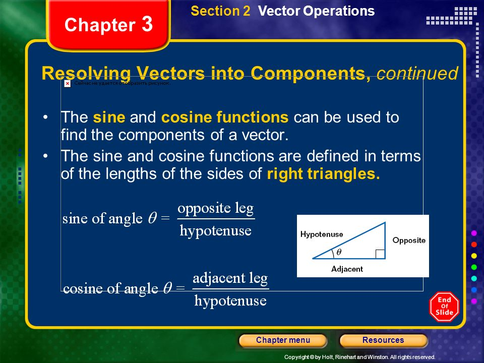 Resolving Vectors into Components, continued