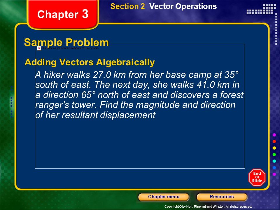 Chapter 3 Sample Problem Adding Vectors Algebraically