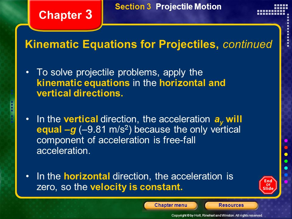 Kinematic Equations for Projectiles, continued