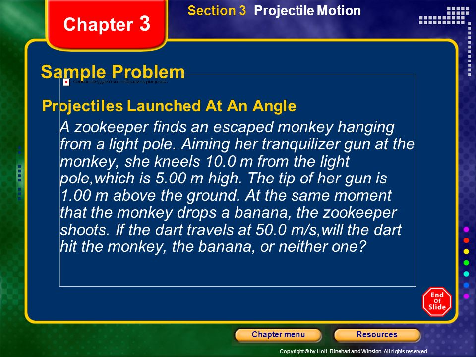 Chapter 3 Sample Problem Projectiles Launched At An Angle