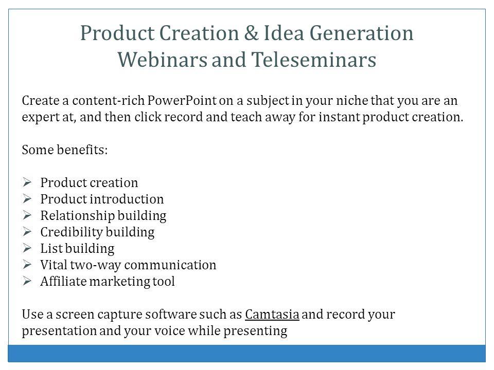 Product Creation & Idea Generation Webinars and Teleseminars