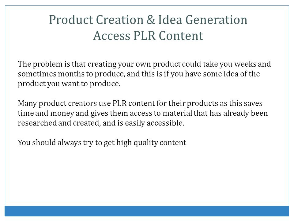 Product Creation & Idea Generation