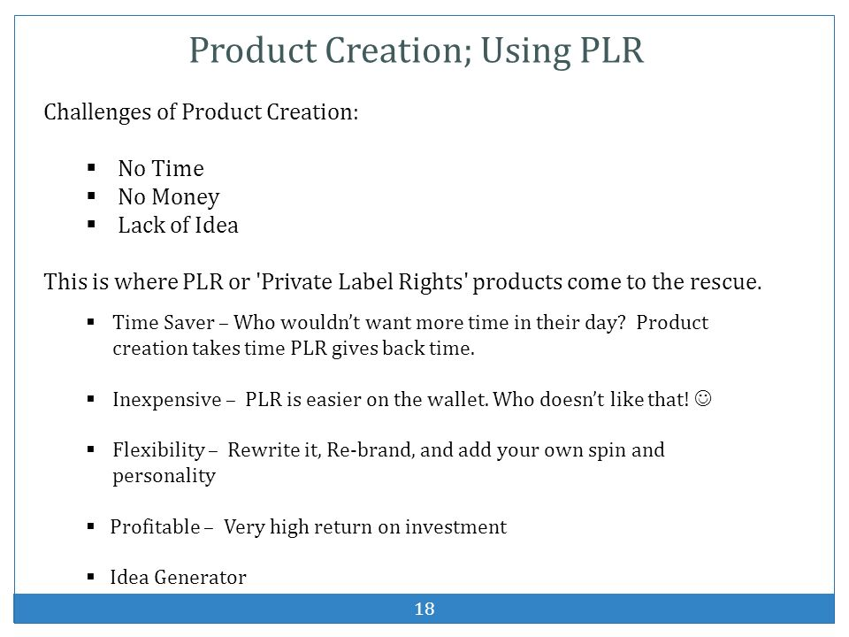 Product Creation; Using PLR