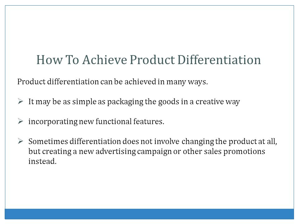How To Achieve Product Differentiation
